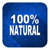 natural flat icon, christmas button, 100 percent natural sign