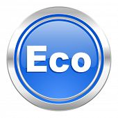 eco icon, blue button, ecological sign