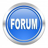 forum icon, blue button
