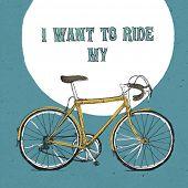 Retro bicycle illustration, hand drawn. Vector