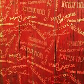 Christmas Words Pattern On Red Wooden Texture. Vector