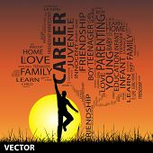 Vector concept or conceptual black education text word cloud or tagcloud as tree and grass, a man jumping, on sunset with sun background