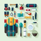 Camping equipment. Flat design.
