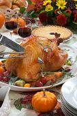 Carving Roasted Turkey On Harvest Table