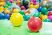 Close Up Colorful Plastic Balls On Children's Playground.