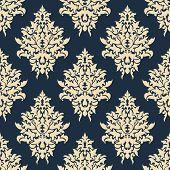 Beige on blue seamless floral pattern