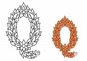 Letter Q in a foliate font