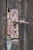 old rusty door lock