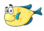 Cartooned smiling fish with big eyes