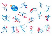 pic of dancing  - Sportive and dancing people icons in blue and red ribbons isolated on white background for sports or dance logo design - JPG