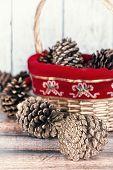 Christmas Basket Of Golden Pine Cones