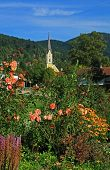 Spa Gardens Schliersee And Church, Bavarian Health Resort
