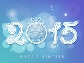 Stylish text 2015 decorated with Xmas ball on shiny blue background for Happy New Year 2015 celebrations.