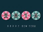 Happy New year sticky decorated with colorful snowflakes and text on grey background.