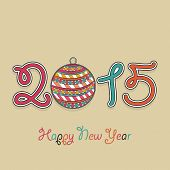 Colorful text 2015 decorated with beautiful Xmas ball on brown background for Happy New Year 2015 celebrations.