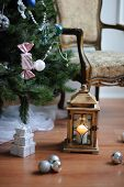 Christmas tree and lantern with candle