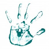 Conceptual green painted child hand shape or print isolated on white paper background