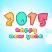 Happy New Year 2015 celebrations greeting card with glossy colorful text on blue background.