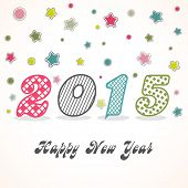 Happy New Year 2015 celebration greeting card design with stylish colorful text on stars decorated white background.