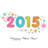 Happy New Year 2015 celebrations creative greeting card design with colorful text on snowflake decorated beige background.