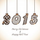 Stylish shiny hanging text 2015 for Merry Christmas and Happy New Year celebrations.