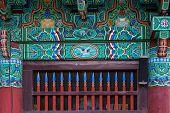 detail of temple gateway, Korean architecture