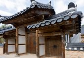 Gateway serving as entrance gates into traditional houses in Jeonju Hanok Village. The architecture is based on the traditional Korean 'hanok' houses