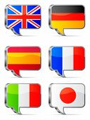 Speech bubbles flags.