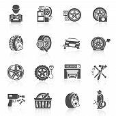 Tire service icon black