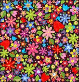 Spring wallpaper with strawberry and flowers. Raster copy