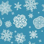 Wallpaper with paper snowflakes. Raster copy