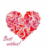 Valentines day card with abstract red heart. Raster copy