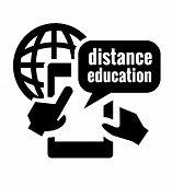 black distance education icon