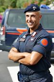 Portrait of Italian special military police force carabinier on duty