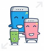 Kawaii Smart Phone Cartoon In Different Sizes