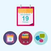 Set Icons With  Calendar Leaf, Cart , Speech Bubble, Vector Illustration