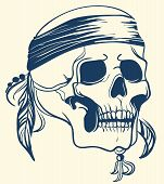 Vintage Skull with feathers. Vector illustration