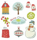 Vector illustration of Christmas icons design set.