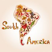 foto of continent  - South america colored sketch concept with continent shape and travel symbols vector illustration - JPG