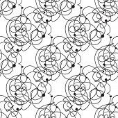 Abstract vector seamless black and white pattern with lines and dots design element.