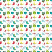 Birds seamless pattern, colorful texture on white background. Vector illustration for design of gift packs, wrap,  patterns fabric, wallpaper, web sites and other.