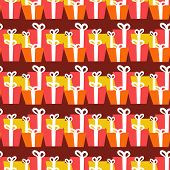 Retro Christmas Gift boxes. Seamless pattern. Vector illustration for design of gift packs, wrap,  patterns fabric, wallpaper, web sites and other.