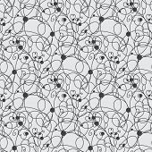 Abstract vector seamless black and white pattern with squares and dots design element.