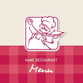 chef menu design on a red background