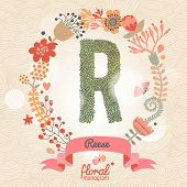 Vintage floral monogram made of green leafs and bright flowers in vector. Stylish letter R can be used for posters, cards, invitations, blogs, websites, backgrounds and any other stylish designs