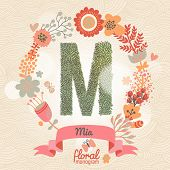Vintage floral monogram made of green leafs and bright flowers in vector. Stylish letter M can be used for posters, cards, invitations, blogs, websites, backgrounds and any other stylish designs