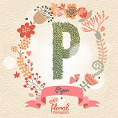 Vintage floral monogram made of green leafs and bright flowers in vector. Stylish letter P can be used for posters, cards, invitations, blogs, websites, backgrounds and any other stylish designs