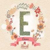 Vintage floral monogram made of green leafs and bright flowers in vector. Stylish letter E can be used for posters, cards, invitations, blogs, websites, backgrounds and any other stylish designs