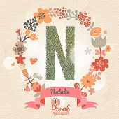 Vintage floral monogram made of green leafs and bright flowers in vector. Stylish letter N can be used for posters, cards, invitations, blogs, websites, backgrounds and any other stylish designs