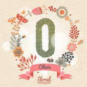 Vintage floral monogram made of green leafs and bright flowers in vector. Stylish letter O can be used for posters, cards, invitations, blogs, websites, backgrounds and any other stylish designs
